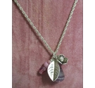 "Silver 18"" Necklace with Silver and Mauve Pendant Charms"