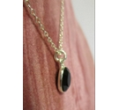 Silver Rope chain with Onyx Bead Pendant