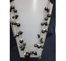"Plastic Long Necklace Beaded 3 layers 26"" Black"