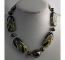Large Green Ceramic Bead Necklace
