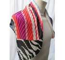 M&S Black & Multi Striped Pleated Scarf