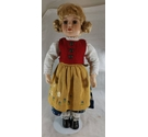 Blonde Doll with Red Waistcoat and Floral Dress