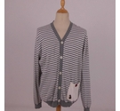 Luke Striped Cardigan Grey & White Size: XXL
