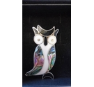 VINTAGE ALPACA SILVER OWL BROOCH WITH ABALONE INLAY