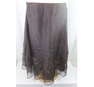Monsoon Silk Embellished Skirt Brown Size: 14