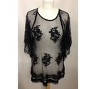 Next short Sleeved Lace Top Black Size: 14