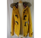 Stadivarius Hooded Short Duffle Coat Yellow Size: S