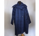 1980s Issey Miyake Wool Coat Double Breasted Blue Size: M