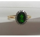 9ct Gold Diopside and Diamond Ring Size P