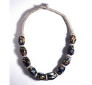 Ceramic bead necklace with string neck detail