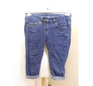 Denim & Co Cropped Jean Shorts Dark Blue Size: 30""