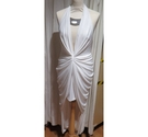 Forever Unique Plunge Maxi Dress Ivory white Size: 12
