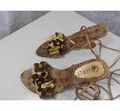 Jimei Wedge sandals with flowers Gold Size: 6