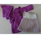 Beautiful hand knitted dolls clothes - Purple & lilac