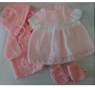 Beautiful hand knitted baby dolls clothes - Pink