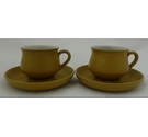 Striking set of two Denby Ode tea cups and saucers