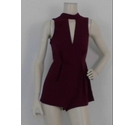 Topshop High Neck Lace Playsuit Wine Size: 6