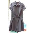 Topshop Playsuit with lace detail Black Size: 8