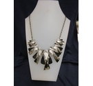 Chunky Black Silver Diamante Party Wear Necklace 32""