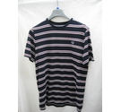 Fred Perry SHORT SLEEVE STRIPED TOP NAVY Size: L