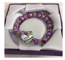Chief Bridesmaid bracelet. Crystal and purple beads. Heart charm saying Chief Bridesmaid.