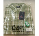 Cotton Traders Check Short Sleeved Shirt Olive Green Size: XL