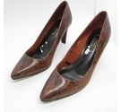 BNWOT M&S Marks & Spencer Faux Snake Heeled Court Shoe Brown Size: 4