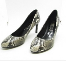 BNWOT M&S Marks & Spencer Faux Snake Heeled Court Shoe Grey Mix Wide Size: 3.5