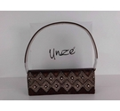 Unze Bead and Crystal Clutch bag Brown Size: One size