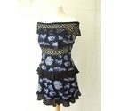 Vintage Topshop ruffle lace off shoulder floral dress blue black whit Size: 10