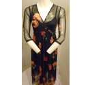 New Look Rose Sheer Dress Black Size: 10