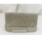 Dune Beaded Evening Bag Silver Size: S