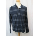 Massimo Dutti Long Sleeve Polo Top Navy and Black Size: M