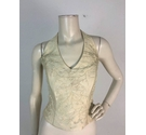 Anu Pam Classic Embroidered Cream Halter Neck Bridal Bodice Size 14