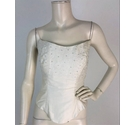 Val Koots Floral Applique Ivory Bridal Bodice Size 14
