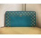 COACH Studded Accordion Zip Wallet Cadet Blue Size: One size
