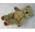 Chad Valley 10 inch teddy bear with squeaker, mohair fur, articulated limbs and glass eyes.