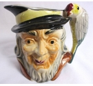 Vintage Pirate Toby Jug with parrot Handle