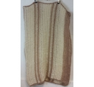 Crocheted Throw/Blanket in Cream and Brown Mohair