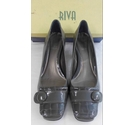 Riva Leather Court Shoes Grey Size: 5.5