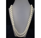 White Long Beaded 1980's Retro Necklace 68""