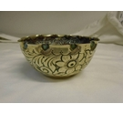 VINTAGE ASIAN/MIDDLE EASTERN HAND ENGRAVED AND HAMMERED BRASS CEREMONIAL BOWL