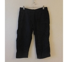 M&S Collection 3/4 comfy Linen Trousers Black Size: 30""