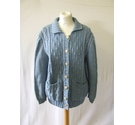 Vintage handmade hand knitted oversize granny cardigan retro blue marl cable Size: One size: regular