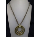 Cord Brass Circle and Orange Necklace