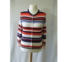 Lord And Taylor petite striped stretch knit cardigan cotton orange blue mix Size: M