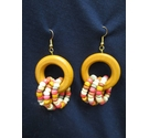 Colourful Wooden Bead Hoop Earrings