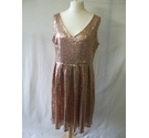Joannie sequin glitter skater dress party cocktail glam rose gold Size: 18