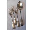 3 vintage silver plated desert forks and serving spoon