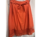 M&S Marks & Spencer Cotton skirt w cut out detail orange Size: 12